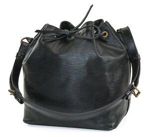 Auth LOUIS VUITTON Petit Noe Black Epi Leather Shoulder Tote Bag Purse #38984