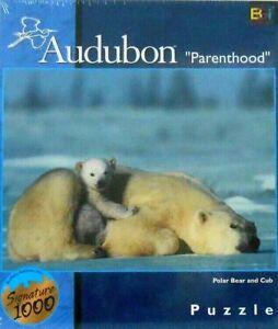 PUZZLE - JIGSAW BUFFALO GAMES AUDUBON PARENTHOOD POLAR BEAR AND CUB 1026 PC NIP