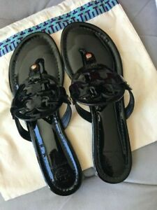 Tory Burch Miller Patent Leather Sandals BLACK 9.5US