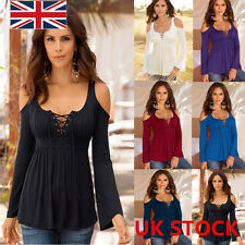 Plus size Women Long Sleeve Off Shoulder Lace Up Neck T-Shirt Casual Tops Blouse