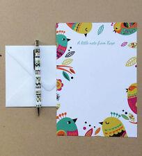 personnalisé Pour enfants Papier à lettres Thank You écrire Set Oiseaux Design x