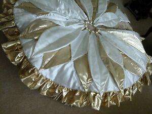 "unique Christmas tree skirt white shining gold ruffle trim 47"" poinsettia shape"
