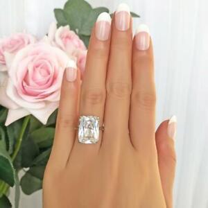 D/VVS1 14.00 CT Emerald Cut Diamond Solitaire Engagement Ring 14K White Gold GP