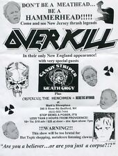 Overkill Concert promo Advertisement sheet! Mark's Showplace - Beford, Nh