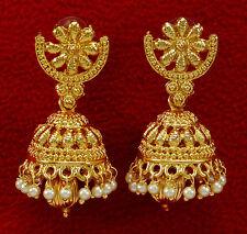 Boucle D'Oreille Indien Ethnique Plaqué Or Jhumka Bijoux Mariage Traditionnel