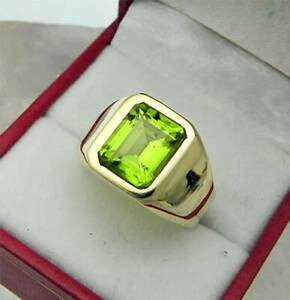 Peridot Ring For Men's in 18K Yellow Gold Over December Birthstone AAA Quality