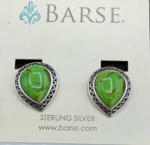 Barse Captiva Clip Earrings- Lime Turquoise- Sterling Silver- NWT