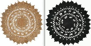 120cm Round Braided Natural 100% JUTE Handmade Reversible Rug - Black or Natural