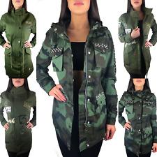 Kapuze Übergangsjacke Damen Blogger Jacke Parka S Xl Mantel Camouflage Nieten qOPwBPgI