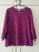 EASTEX WOMENS PINK LACE BLOUSE 3/4 SLEEVE SEQUIN FLORAL TOP SIZE 12 LENGTH 24