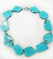 Newest Hot Sale Irregular Turquoise Slice Stone Choker Necklace Bead Woman Gift