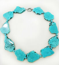 Hot Sale Irregular Turquoise Slice Stone Choker Necklace Bead Woman Gift