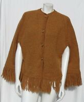 Vintage 60s Hand Knit Mustard Chunky Wool Fringed Sweater Poncho Cape size M L
