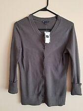 Gap Women's Sweater Cardigan 3/4 Length Sleeve Gray 100% Cotton Size Extra Small