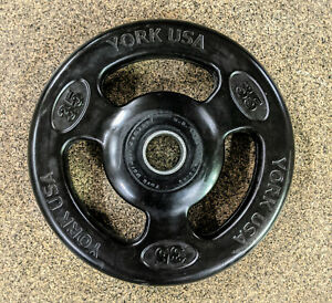 2 x 35 lbs York ISO Grip Rubber Coated Olympic Weight Plates - PRIORITY SHIPPING