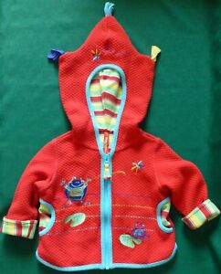 Hanna Andersson Red Quilted Hooded LS Jacket Girl 70 6-12 mo EUC FROGS Pockets