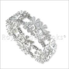 Silver Tone Magnetic Hematite Floral Bracelet / Bangle
