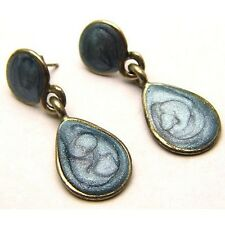 Vintage Dangle Earrings w/Light Blue Swirl Enamel Design Silver Tone