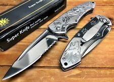 """8"""" Knife Spring Assisted Pocket Open Folding Tactical Alum Handle WOLF CHROM"""