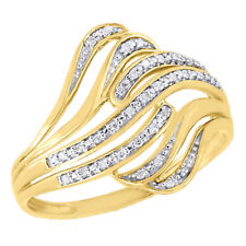 10K Yellow Gold Diamond Ladies Bypass Swirl Fashion Band Right Hand Ring .07 Ct.