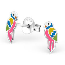Sterling Silver 925 Colourful Pink Epoxy Parrot Stud Earrings