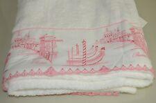 $785 NEW PRATESI Giudecca Lace Pure White Pink BATH SHEET TOWEL Exquisite!!!