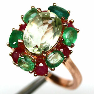 NATURAL 8 mm. GREEN AMETHYST, EMERALD & RUBY RING 925 STERLING SILVER SIZE 7