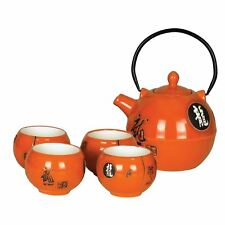 More details for chinese tea set - gloss orange ceramic - round - characters pattern