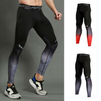 Mens  Pro Fitness Compression Tights Long Running Base Layers Quick-dry Printing