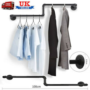 Detachable Wall Mounted Clothes Rail 100cm Industrial Pipe Garment Rack Hanging