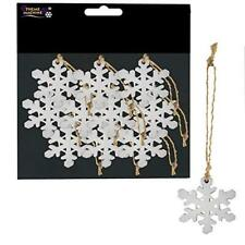 10x Vintage Wooden  White Snowflakes Decorations Christmas Tree Charms Ornaments