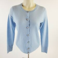 Pendleton Long Sleeve Studded Button Sweater Baby Blue Womens Size PS Crew Neck