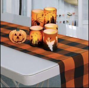 "Table Runner Orange & Black Buffalo Check Plaid 13 x 71"" Holiday Home Decor"