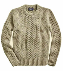 RRL Ralph Lauren Aran Irish Cable-Knit Donegal Wool Sweater- M