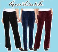 NEW GLORIA VANDERBILT  Womens Jemma Ultra Soft Velour Pants Navy: S /Merlot: XXL