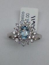 14k White Gold Oval Shape Aquamarine and Diamond Halo Starburst Ring Size 7 New