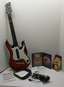 Red Guitar Hero Band Hero Wireless Guitar PS2 PS3 95893805 w/ game mic No Dongle