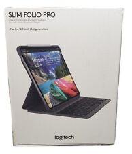 """Logitech Slim Folio Pro Bluetooth Keyboard Apple iPad Pro 12.9"""" 3rd Gen Case"""