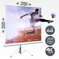Beamer Leinwand Stativleinwand Rolloleinwand 113 Zoll 200 x 200 / 1:1 Full HD 4K