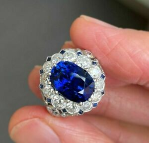 8ct Cushion-cut Sim Sapphire Vintage Style Ring Round Halo 14k White Gold Plated
