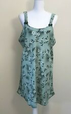 Women's Nightgown Slip Nightie, XL, Green Floral Above Knee Unbranded