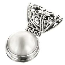 HUGE! WHITE MABE PEARL 925 STERLING SILVER pendant