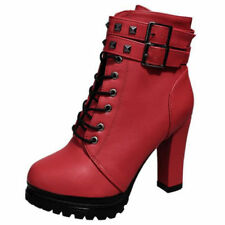 Women Ladies Rivet Shoes Short Boots High Heels Platform Pumps Sexy Lace Up Size