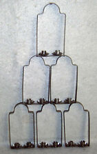 Six Colonial Hanging Metal Candle Holders - Small Arched Window Shaped Loops