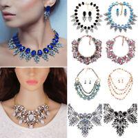 Women Fashion Jewelry Crystal Choker Chunky Statement Bib Pendant Necklace Chain