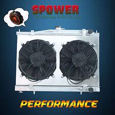 For Nissan Skyline R33 R34 RB25DET Aluminum Radiator + 120W Fan Shroud + 1.3 Cap
