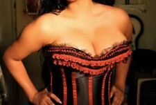 Bustier Black ruffled lace red corset Lolita Lace Up Moulin Rouge