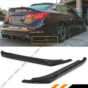 For 2014-17 Infiniti Q50 Carbon Fiber Rear Bumper Side Corner Splitters Aprons