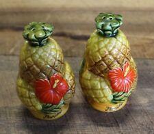 Vintage Salt Pepper Shaker Set Florida Figural Pineapples Hibiscus Flower Japan