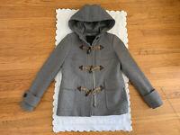 J.Crew  Womens sz 0/ S Grey Melton Wool Toggle Duffle Coat Jacket Hooded